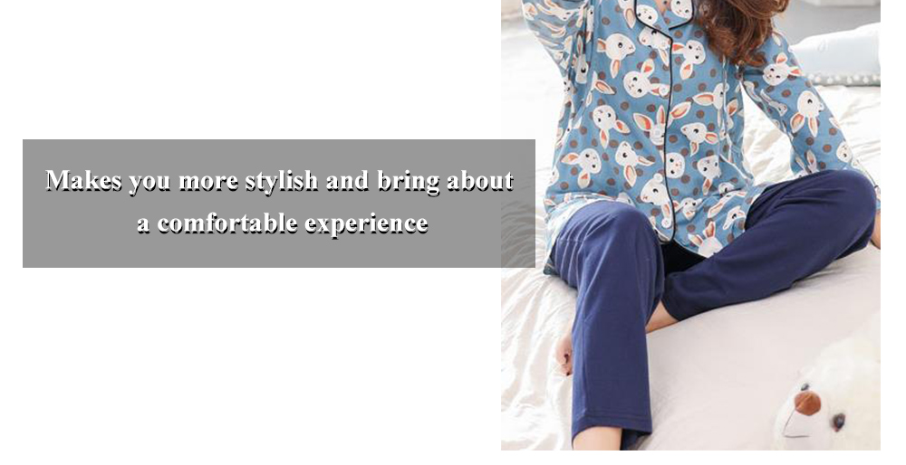 8112 Soft And Close-fitting Pajamas For Pregnant Woman Or Puerpera- Blue M