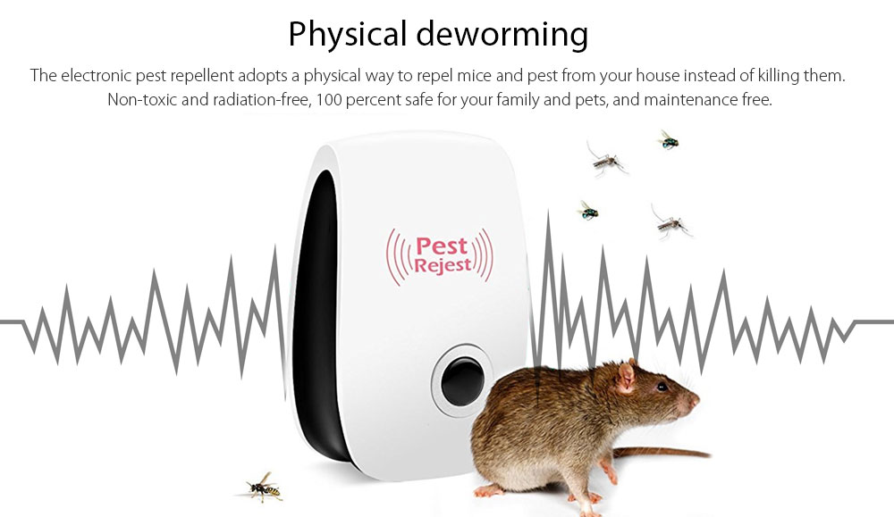 Ultrasonic Control Environment-Friendly Pest Repeller 6pcs- White US Plug