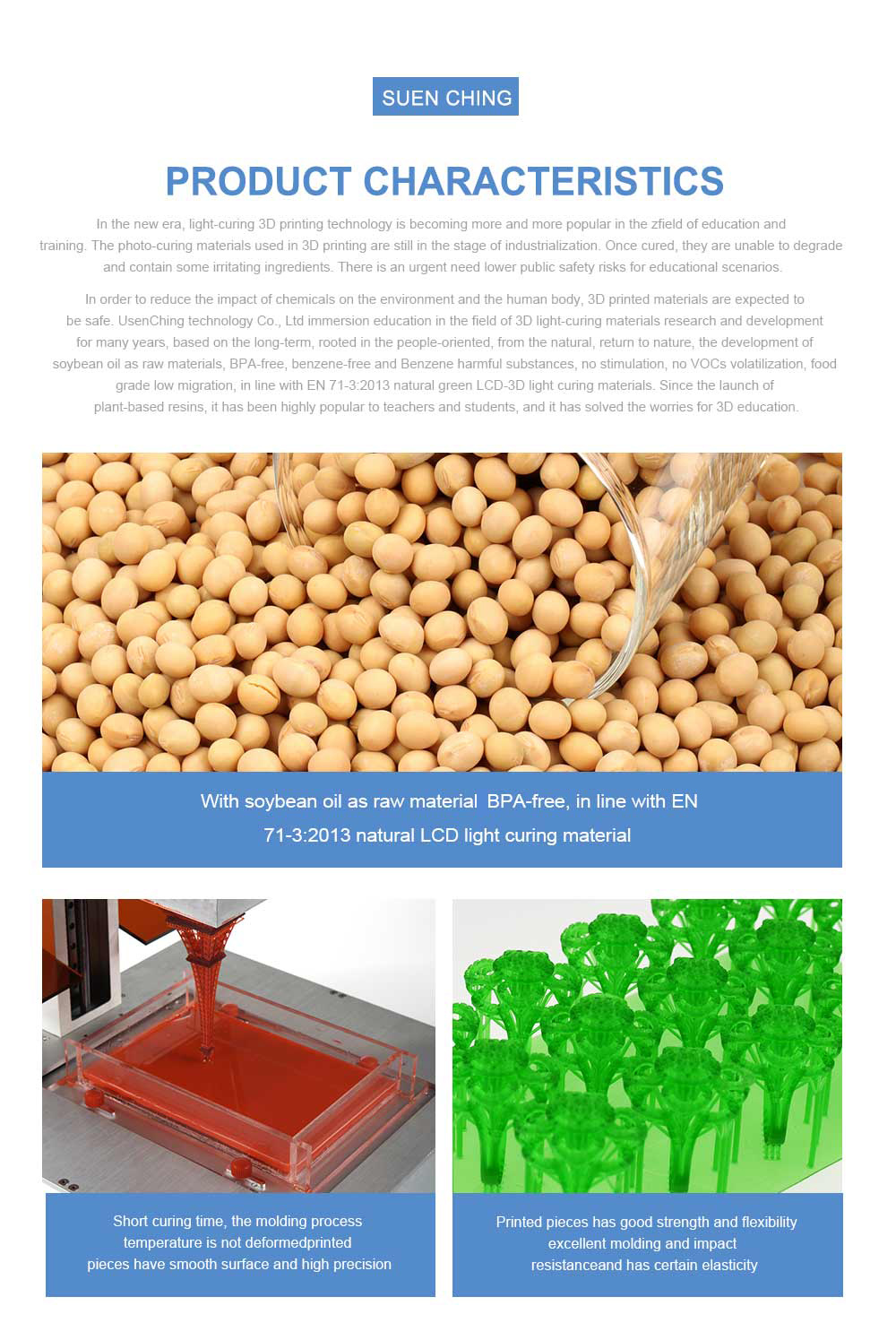 Rapid LCD UV-Curing 405nm Soybean Oil Resin for 3D Printing
