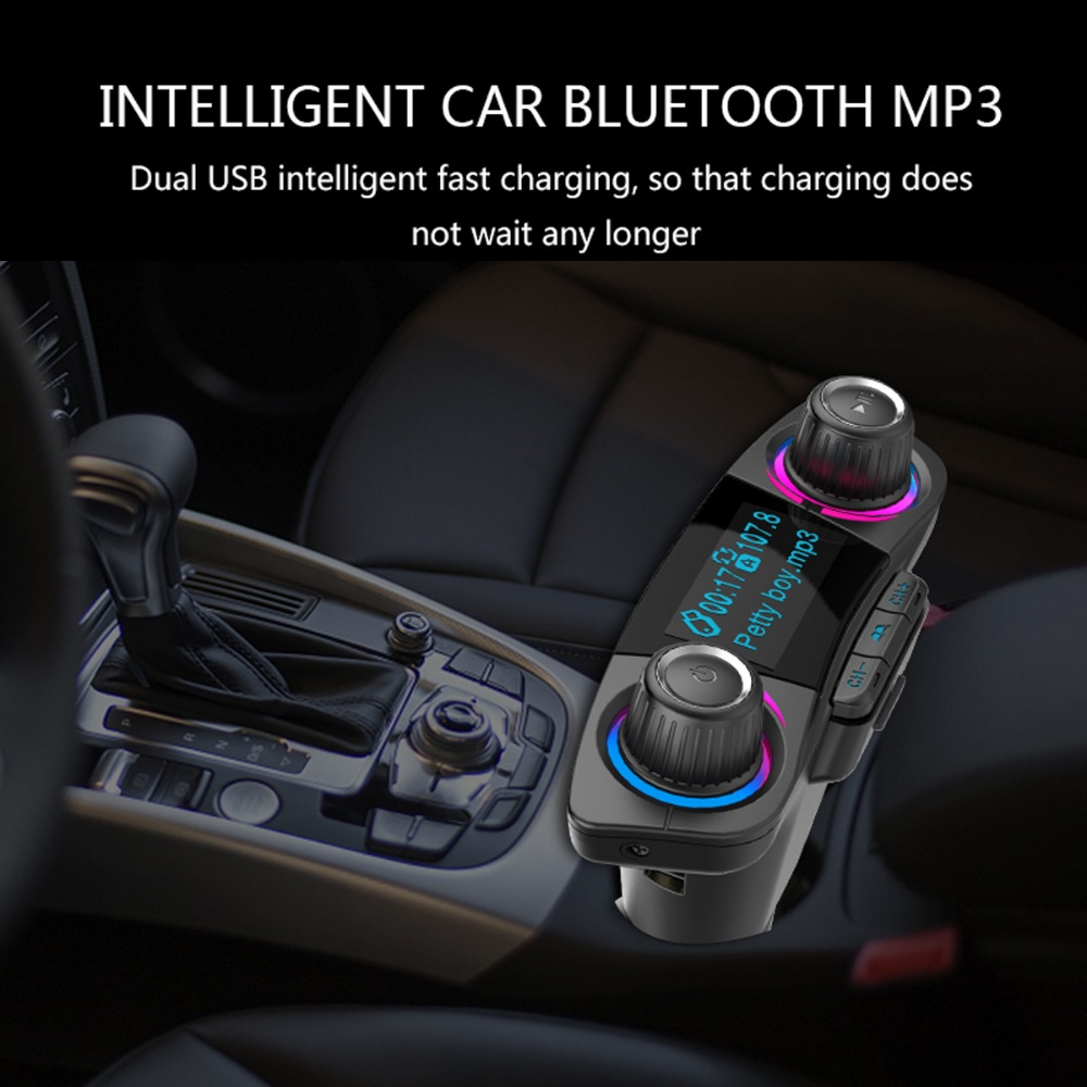 Wireless Bluetooth LCD Car MP3 FM Transmitter AUX USB Disk Charger Handsfree FM- Natural Black