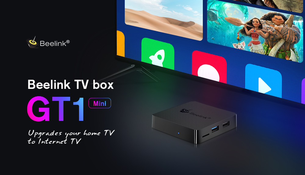 Beelink GT1 MINI TV Box with Voice Remote Amlogic S905X2 / Android 8.1 /  2.4G + 5.8G WiFi / 1000Mbps / USB3.0 / BT4.0 / Support 4K H.265- Black 2GB DDR4+32GB ROM  EU Plug