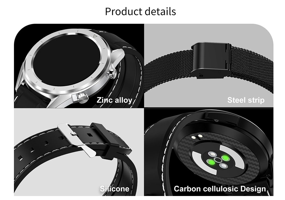 NO.1 DT28 Smart Watch 1.54 inch Nordic NRF52832 64KB RAM 512KB ROM Heart Rate Monitor Step Count Sedentary Reminder IP68 230mAh Built-in- Silver Silicone strip