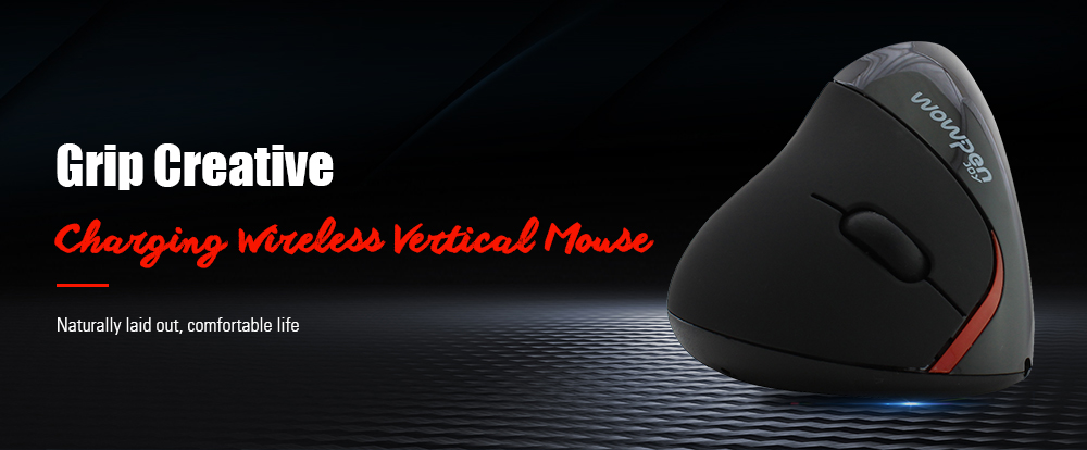 Rechargeable Wireless Vertical Mouse - Black