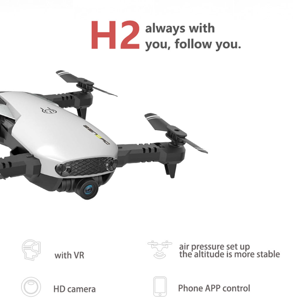 H2 Folding Quadcopter for HD 2.0mp Aerial Photography- White with two battery