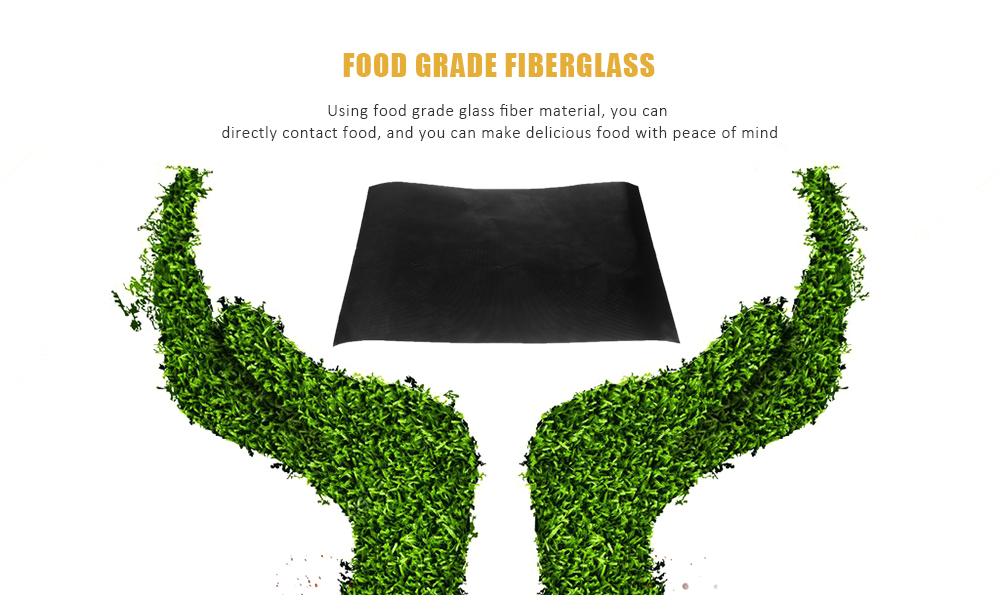 Heat-resistant BBQ Grill Sheets Thick Non-stick Mat 1pc- Black
