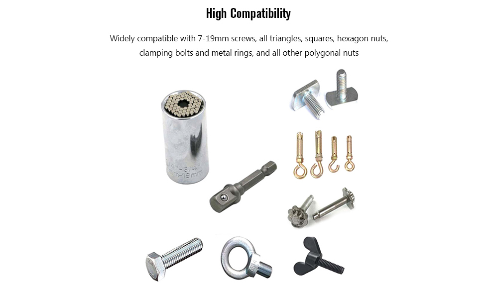 Swivel Sleeve + Connecting Rod Universal Screw Removal Set 2pcs- Silver