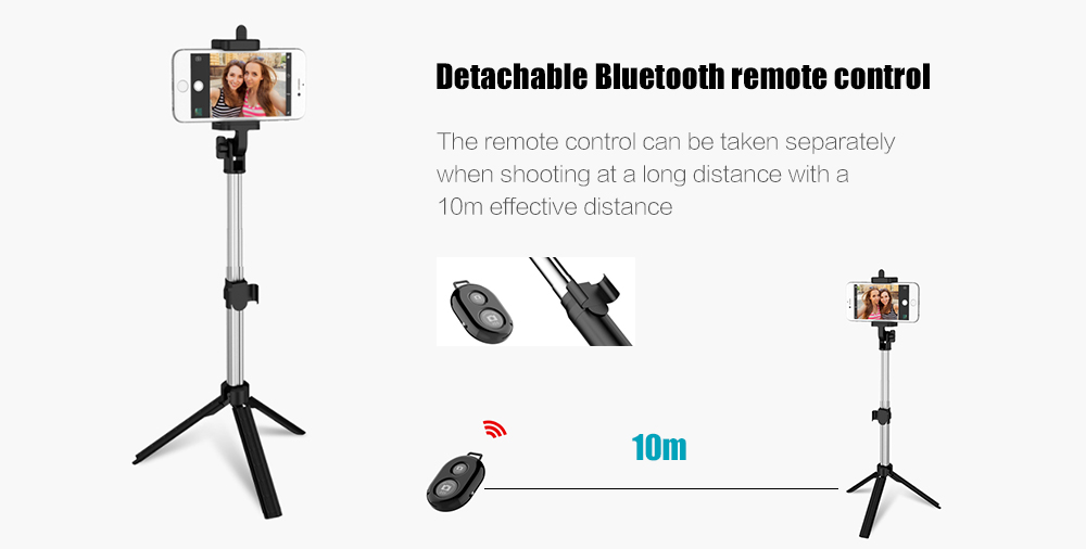 Yeshold Universal Bluetooth Remote Control Stretchable Hand-held Tripod Selfie Stick - Black