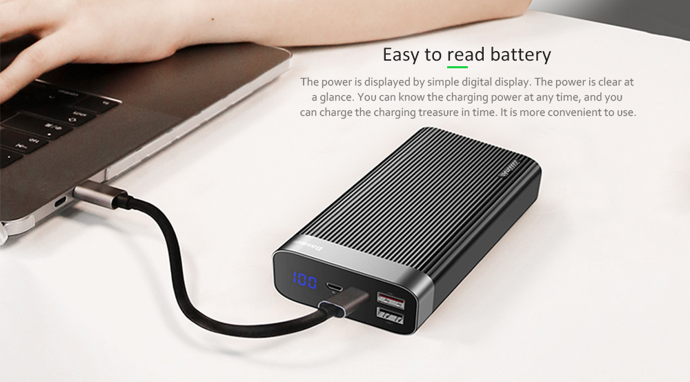 Baseus PPALL - APX01 Type-C Parallel PD Flash Charging + QC3.0 Intelligent Digital Display Mobile Power Bank- Black