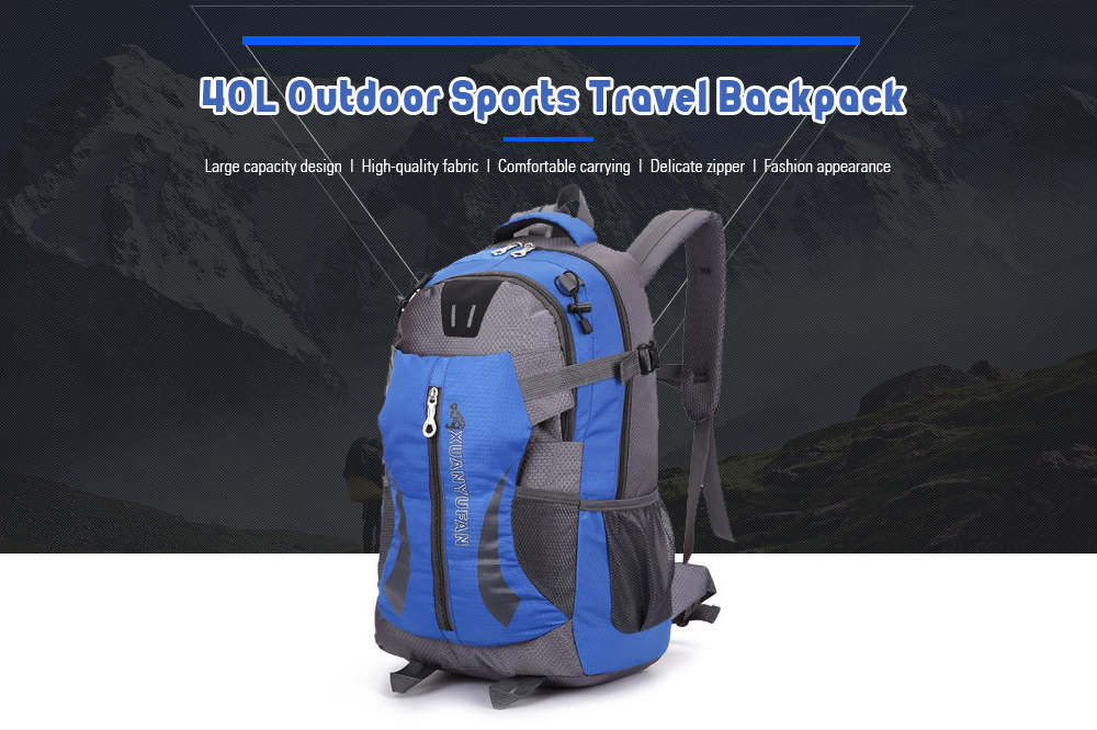 3dda3eb96c1cfb 40L Outdoor Sports Waterproof Travel Backpack for Hiking Camping - Black