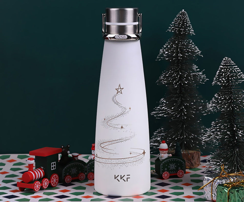 KKF Vacuum Thermos Portable Water Bottle from Xiaomi youpin- Milk White Paper airplane pattern