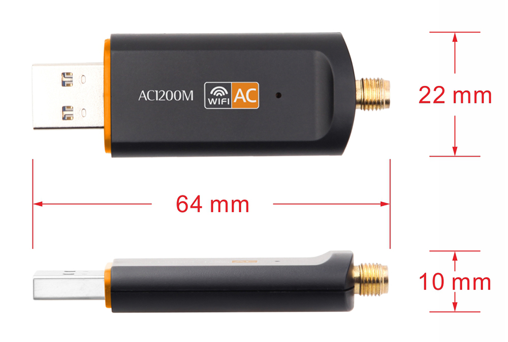 5800 1200Mbps USB Wireless Network Card Portable WiFi 360WiFi 2.4G/5G Dual-band Mini WiFi Receiver Support Ap Mode- Black