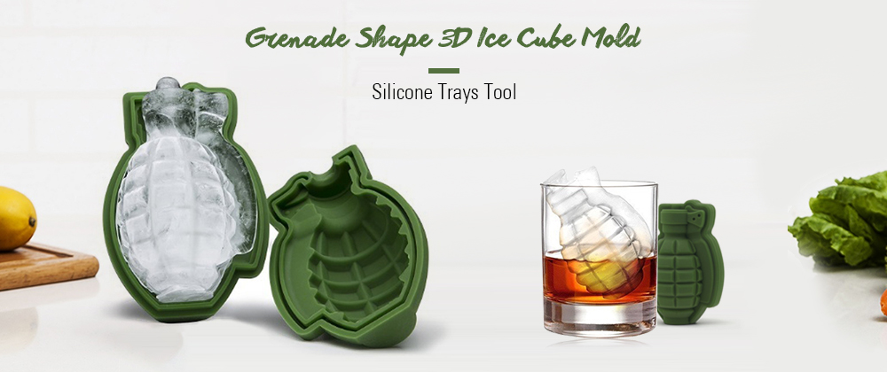 Grenade Shape 3D Ice Cube Mold Silicone Trays Tool- Shamrock Green