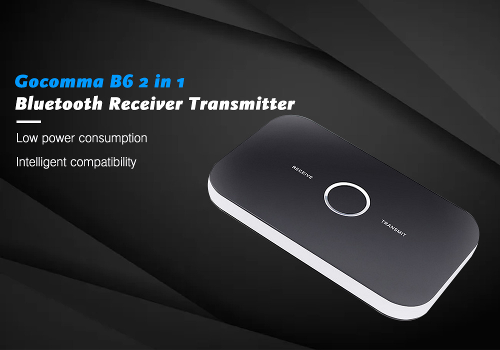 Gocomma B6 2 in 1 Bluetooth Receiver Transmitter- Black