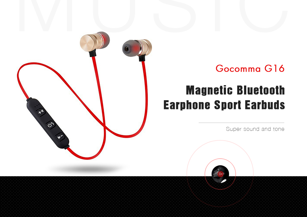 Gocomma G16 Magnetic Sports Wireless Bluetooth Earphone- Black