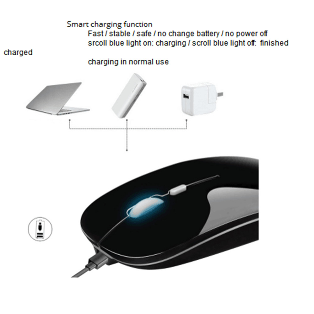 48c2fe76fe1 Rechargeable Wireless Mouse 2.4GHz Optical Ultrathin Mice for Computer  Laptop- Rose Gold