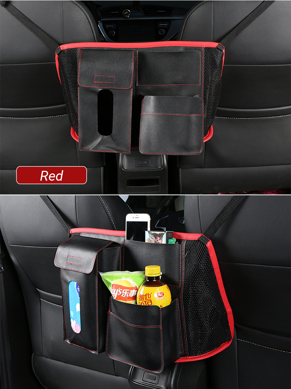 Cllena Car Seat Side Organizer Cooler with Cell Phone Sun Glasses Tissue Holder Multi-Pocket Travel Storage Bag for Vehicles Red