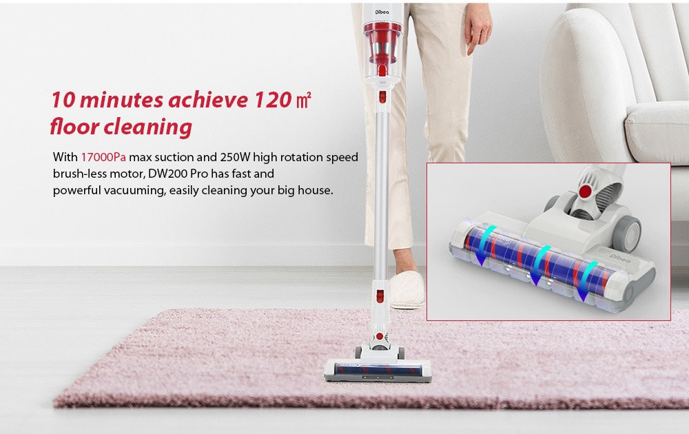 Dibea DW200 Pro Cordless 2 in 1 Hand-held Stick Vacuum Cleaner- White