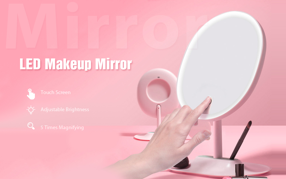 FASCINATE LED Makeup Mirror Adjustable Lens 5 Times Magnifying Glass - White