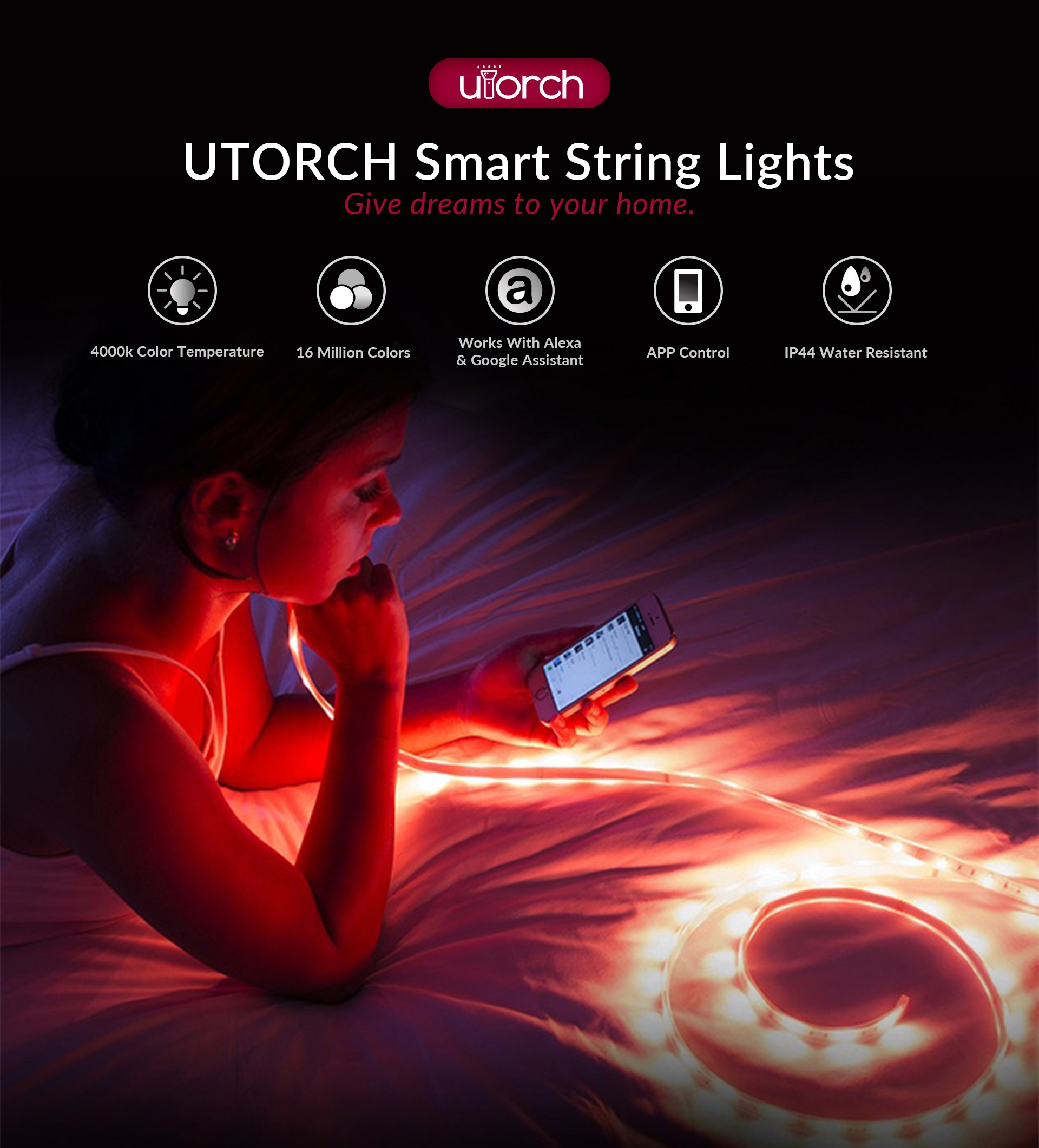 Luci a stringa Smart LED UTORCH WiFi- Bianca 2M