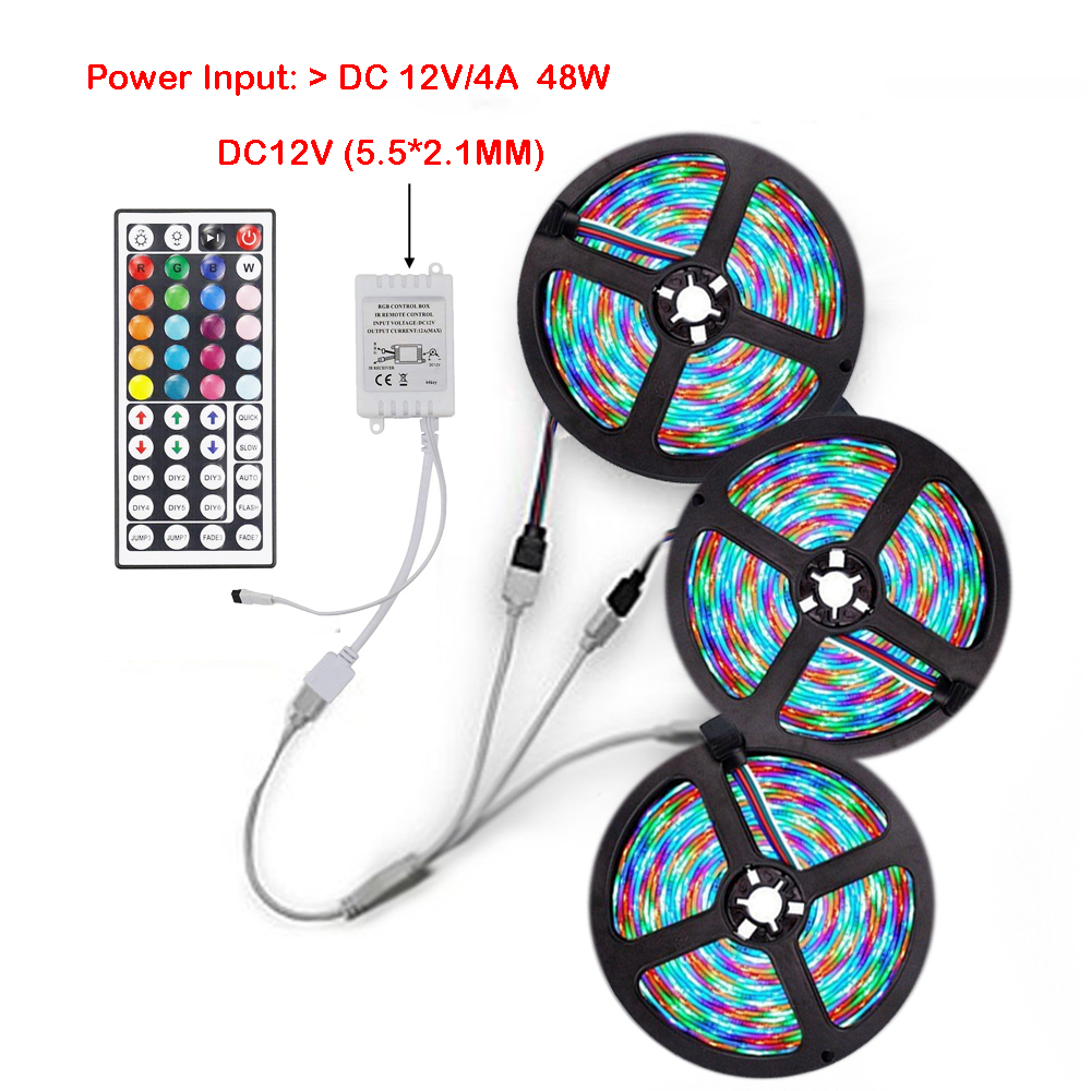 Rgb Led Strip.3x5m 2835 Rgb Led Strip Light With 44 Key Ir Controller 1 To 3 Connecting Line