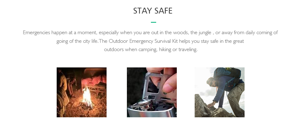 SOS Survival Kit Outdoor Emergency Tools for Camping / Hiking- Black