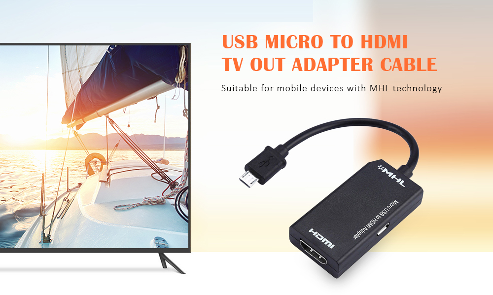 Micro USB to HDMI TV Out HDTV MHL Adapter Cable