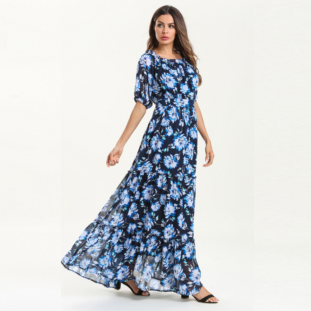 Off Shoulder printing Splicing Dress Bohemia Maxi Dress- Ocean Blue L