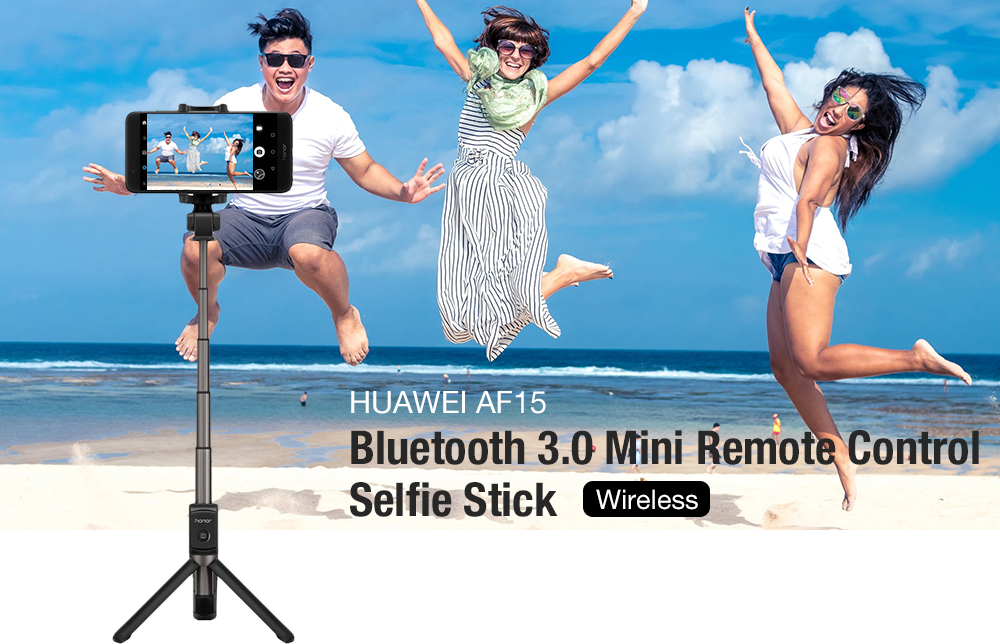 HUAWEI AF15 Bluetooth Wireless Mini Remote Control Selfie Stick for Xiaomi Note 7 / Oneplus 6 / Samsung Galaxy S9 Note 8 9 Black