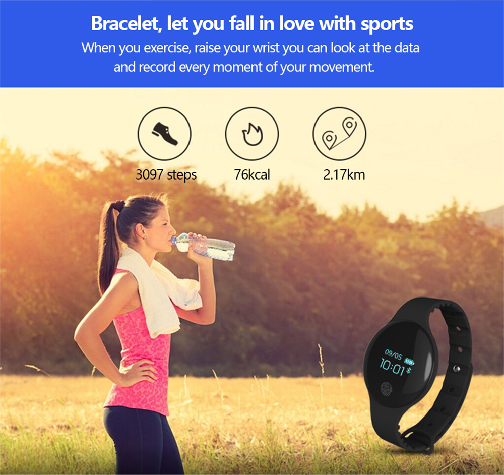 V6 H8 Fashion Waterproof Health Monitoring Message Push Remote Camera Smartwatch- Multi-C