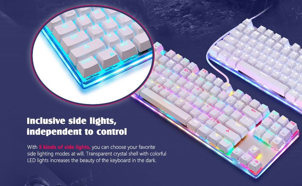 Motospeed K87S NKRO Mechanical Keyboard with RGB Backlight- White Blue Switch