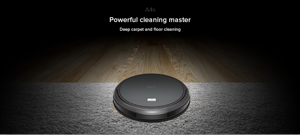 ILIFE A4S Smart Robotic Vacuum Cleaner Cordless Sweeping Cleaning Machine Self-recharging Ultimate Filter Remote Control Robot EU PLUG- Gray EU Plug