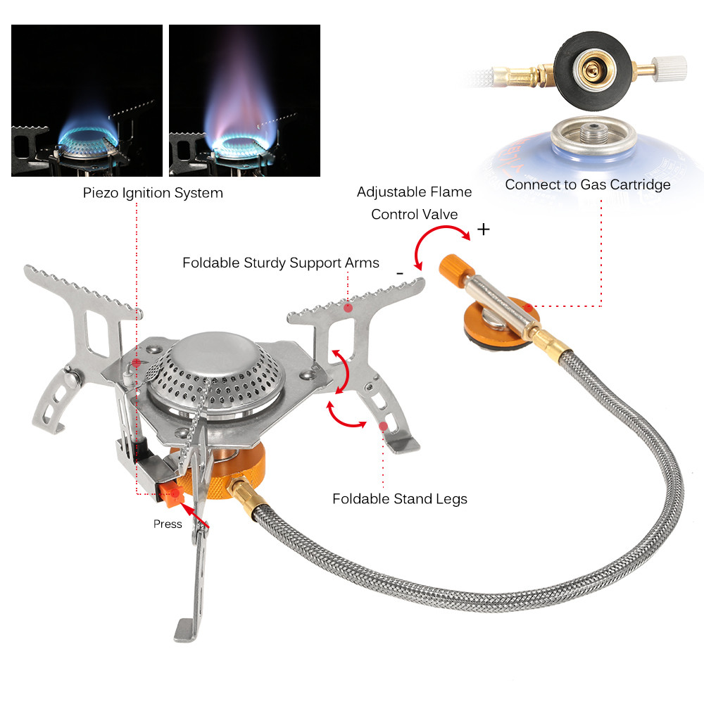 3000W Portable Outdoor Camping Hiking Gas Stove Folding Cooking Burner J6O0