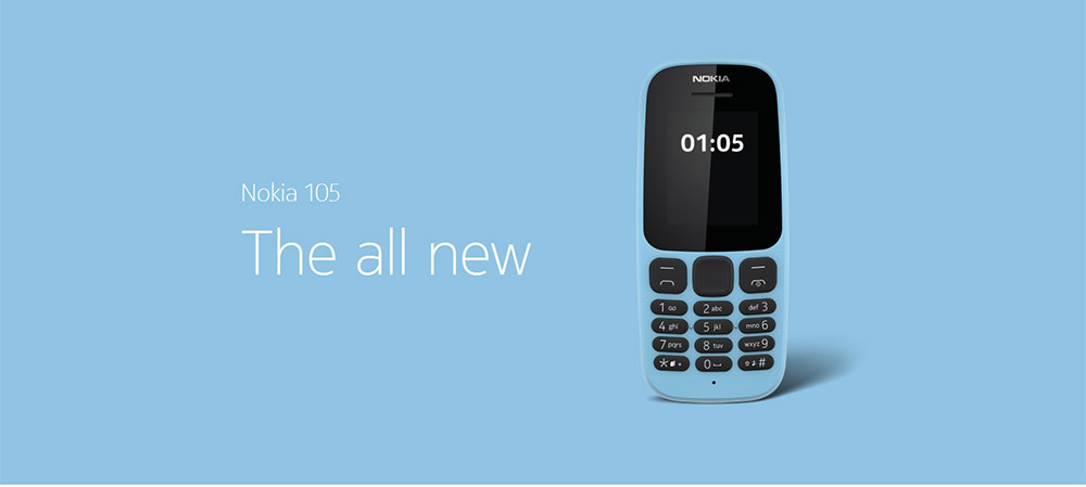Nokia 105 2G Feature Phone 1.8 inch Nokia S30+ MTK Single Core 0.26GHz 4MB RAM 4MB ROM 800mAh Detachable - Black