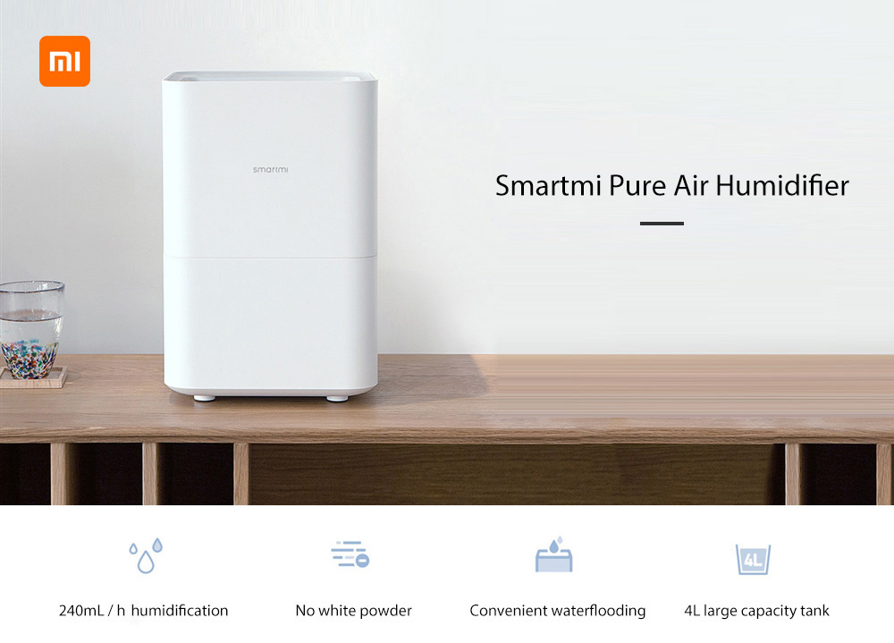 Smartmi Pure Evaporative Air Humidifier with 4L Capacity for Home Office ( Xiaomi Ecosystem Product )- White