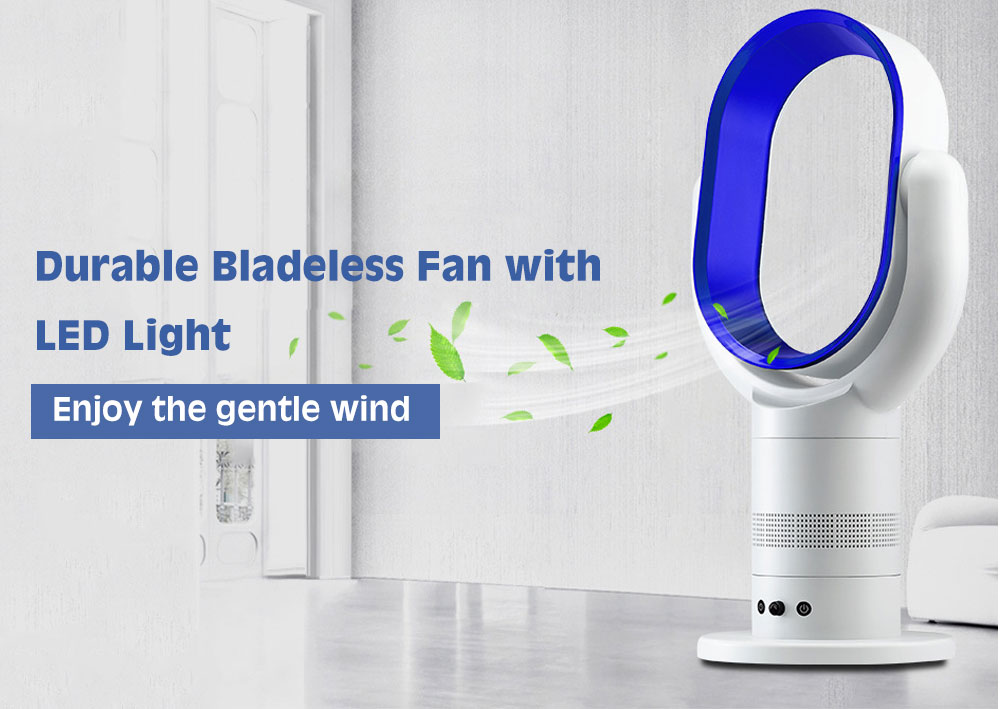 PW - 2A Rotary Wind Speed Adjustment Floor Bladeless Fan with LED Display Light- Silver Chinese Plug (2-pin)