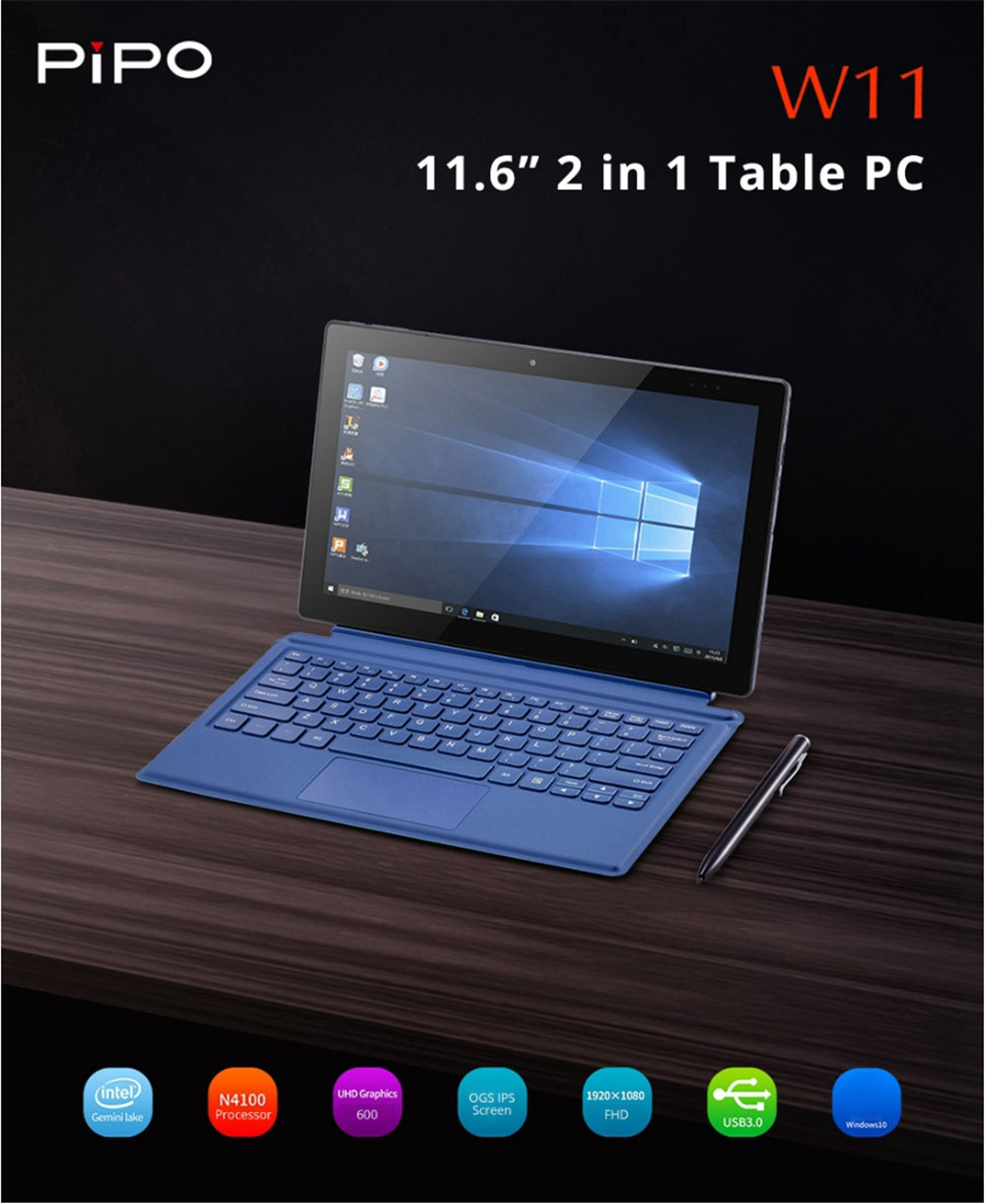 Pipo W11 2 in 1 Tablet PC with Keyboard and Stylus Pen