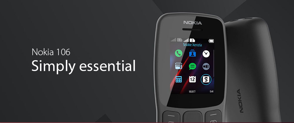 Nokia 106 2G Phone Dual Band S30 MTK 6261D Single Core 1.8 inch 4MB RAM 4MB ROM 800mAh Replaceable- Gray