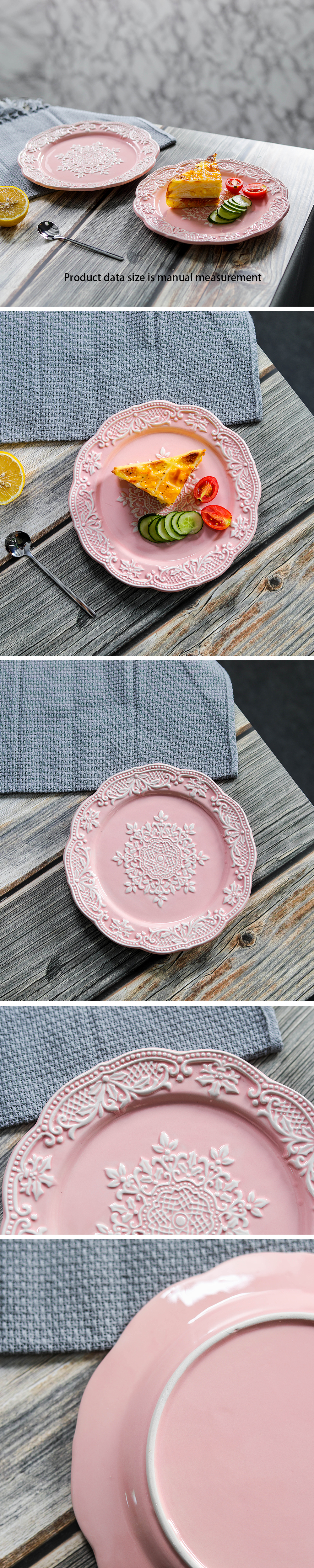 Pink Ceramic Plate Christmas Snowflake Plate Cake Tray 8 Inches Shenmao