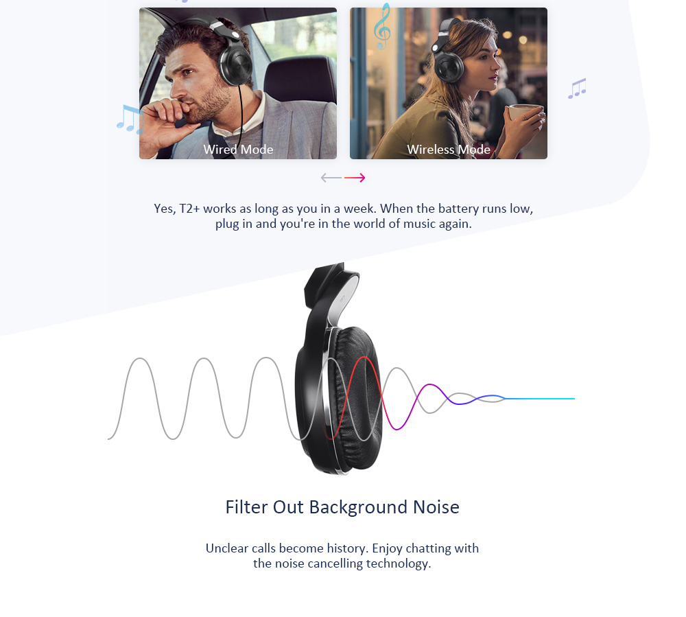 Bluedio T2+ Wireless Bluetooth 5.0 Stereo Headphone Headset Earphone Foldable / Stretchable Support TF Card / FM Function for Smartphones- White