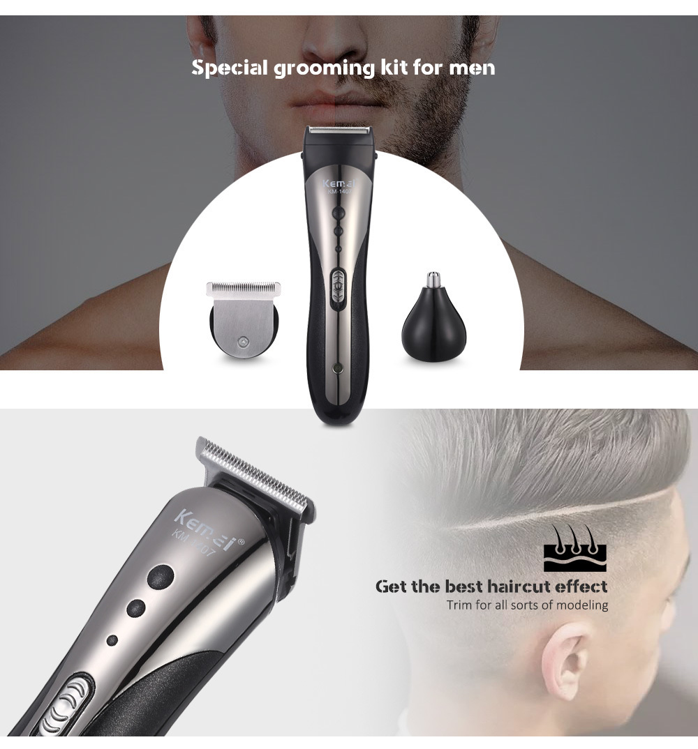 Kemei KM-1407 Trimmer Waterproof Wireless  Beard Nose Ear Shaver Hair Clipper- Black