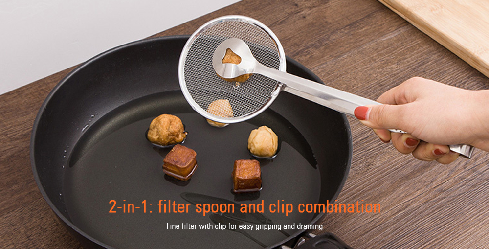 Stainless Steel Convenient Fry Mesh Food Strainer- Silver