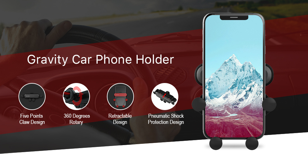 Gravity Mobilephone Support Car Air Outlet Claw Retractable Phone Holder- Red Wine