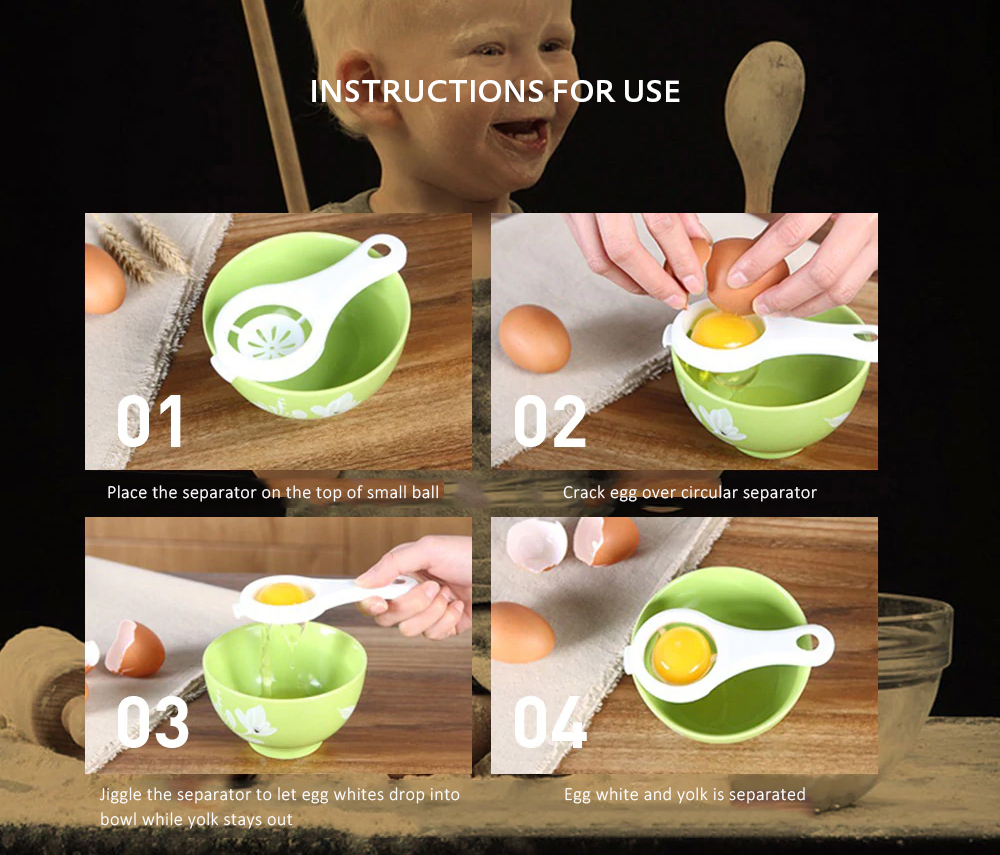 Practical Egg Yolk White Separator Household Supplies Gadgets Home Necessities- White