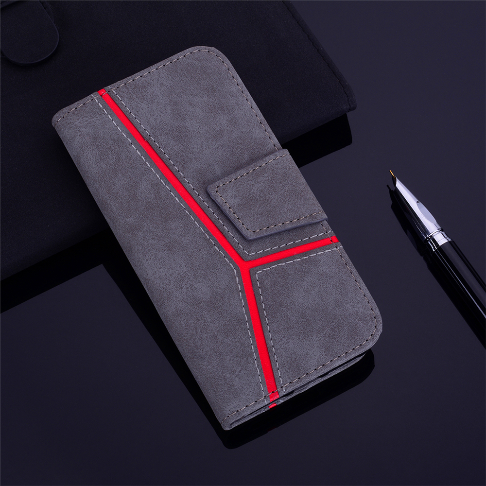 for iPhone 6 Plus / 6S Plus Case Fashion PU Flip Wallet Leather Phone Cover- Gray