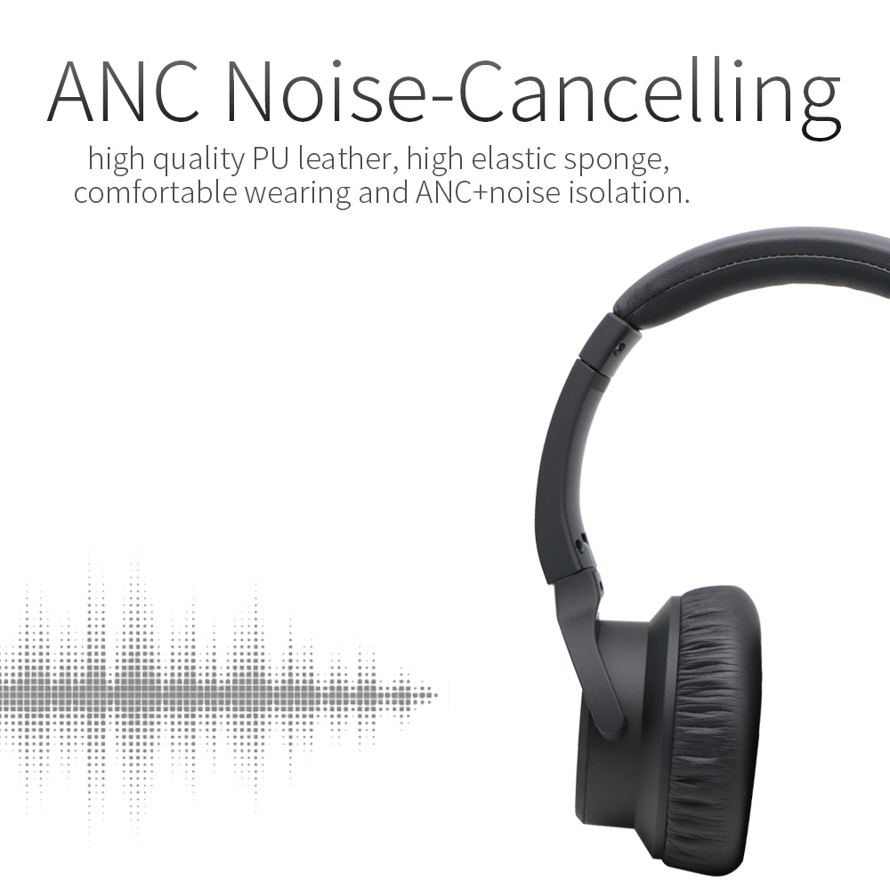 ANC Wireless Over-Ear Noise-Cancelling Bluetooth Headphones with Mic and 12  Hour- 81c349d874c7d