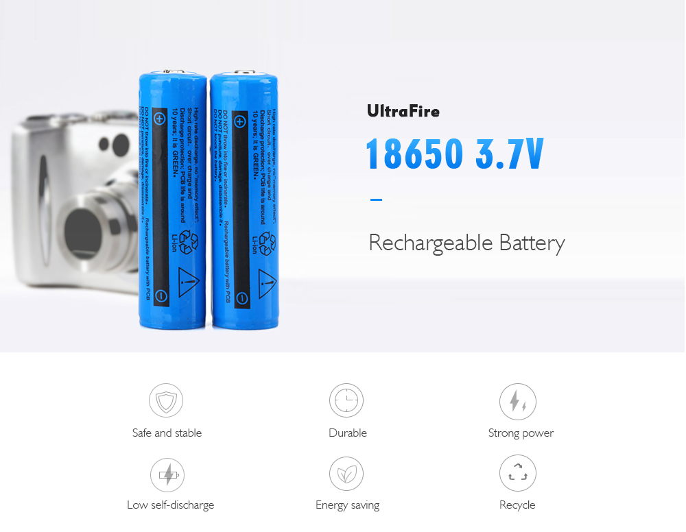 UltraFire 18650 3.7V 2400mAh Li-ion Rechargeable Battery with Protection Board 2pcs