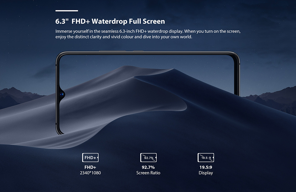 UMIDIGI S3 Pro 4G Phablet 6.3 inch Android 9.0 Pie Helio P70 Octa Core 2.1GHz 6GB RAM 128GB ROM 20.0MP Front Camera Fingerprint Sensor 5150mAh Built-in EU Version- Black EU Version