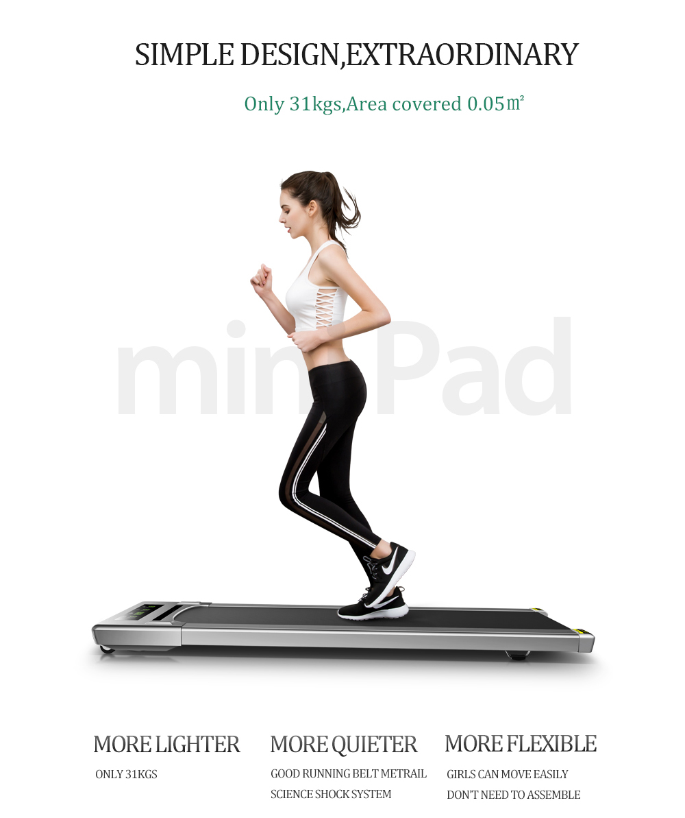 Multifunction Electric Treadmill Silent Indoor Gym Walking Machine- Gray