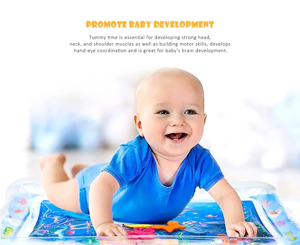 Inflatable Tummy Time Premium Water Mat for Infants Toddlers Perfect Play Activity Center Your Baby's Stimulation Growth- Multi-A
