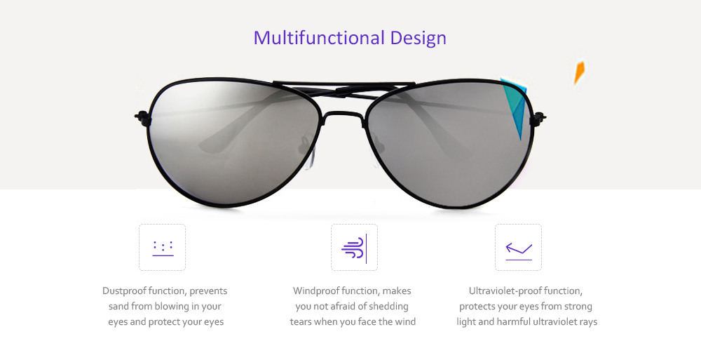 6637828e740c Fashionable UV400 Metal Frame PC Sunglasses Eyewear Retro Eyes Protector  Outdoor Activities Leisure Necessaries- Purple